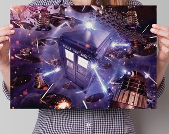Doctor Who Poster - 'TARDIS and Daleks in Space'