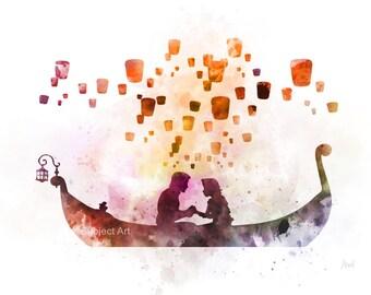 Tangled Lantern Scene inspired ART PRINT illustration, Rapunzel, Princess, Disney, Wall Art, Home Decor, Nursery