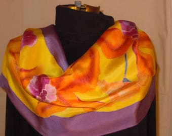 Silk scarf; hand painted scarves; Flowers; purple scarf; yellow scarf; floral scarf; hand painting; silk painting #S134