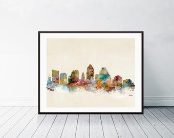 austin texas .austin city skyline. austin texas cityscape. colorful watercolor skyline's. Giclee art print.color your world with bri.