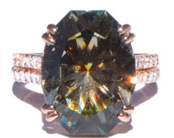Gorgeous 8.8 ct Sage Green Tourmaline & Diamond Ring