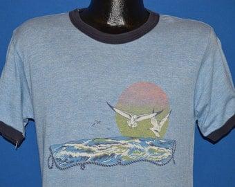 70s Sunset Seagull Distressed Ringer t-shirt Medium