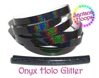 Black Onyx Holographic Glitter Taped performance Hula Hoop Polypro or HDPE
