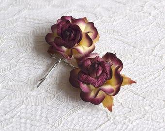 Burgundy Rose Hair Clips, wedding hair accessories, bridal hair clips, autumn wedding, flower hair clips, rose bobby pins - set of two