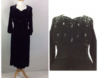 1940s Dress, Black Velvet , Party Dress, Dinner Dance, Sweetheart , UK size 8-10, US size 6-8.
