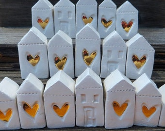 Little Ceramic houses, Wedding gifts, Miniature houses, Little rustic houses, Ceramic house, 26 karat gold, rustic cottage, gold Heart