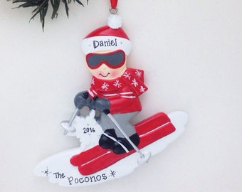 Snow Skiing Personalized Christmas Ornament / Skier Ornament / Ski Trip / Hand Personalized Christmas Ornament