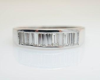 Mens .73CT Baguette Cut Diamond Wedding Band 14k White Gold Mens Wedding Ring Diamond Wedding Band Mens Wedding Jewelry