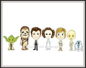 Star Wars Inspired, Childrens Wall Art, Painting, Princess Leia, Yoda, Chewbacca, Luke Skywalker, R2D2, Hans Solo