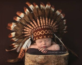 PRICE REDUCED - K01 For 0 to 9 months  Baby / Newborn : Brown Headdress for the little ones !