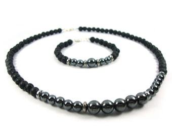 FREE SHIPPING Santorini Jewelry Set Natural Black Volcanic Black Lava 6mm - Natural Hematite 6&8mm Handmade Greek  Bracelet Necklace