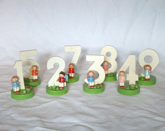 Vintage Sevi Wooden Handpainted Numbers Birthday Cake Toppers - Set of 8 - Italy