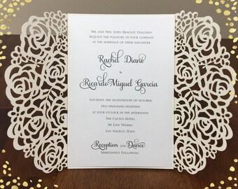 Rose Design Rose Gold Laser Cut Wedding Invitations Wedding Die Cut Laser Cut Traditional Wedding Invites Laser Cut