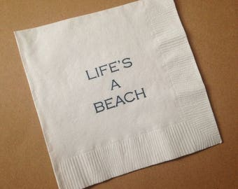 Beach party cocktail napkins seaside backyard parties summer wedding rehearsal hand stamped blue on white