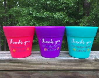 Teacher Gifts - Plastic Flower Pots - Bright & Vibrant