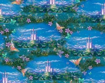 Dk Blue  Dreamland Flying  Fairies Castles Scenic DIGITAL Fabric Quilting Treasures 1/2 Yard Free Post