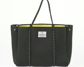 Tote bag, Beach bag, Shopping bag, Neoprene BLACK YELLOW. Gym bag, surfer bag, travel bag.