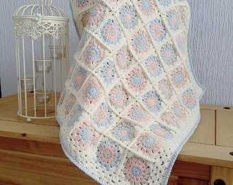 Duck egg blue, beige, apricot and cream granny square crochet baby blanket. Handmade with love