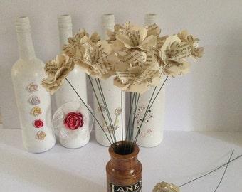 15 Book Page Flowers ,Christmas,Vintage Bouquet, Home Decor Bouquet, Big Flowers