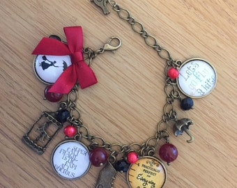 Mary Poppins Quote Charm Bracelet  - Handmade, Unique (FREE or LOW COST shipping)