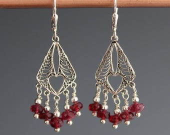 Red Spinel Earrings - Sterling Earrings - Chandelier Earrings - Gemstone earrings - Red Earrings - Red Spinel Jewelry - gift for her,Berries