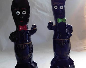 Wonderful 50s Black Spoon and Fork Salt and Pepper Shakers