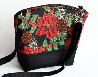 Christmas Poinsettia cross body purse. Lightweight, fully padded and lined.