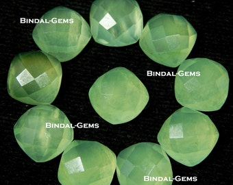 25 Pieces Lot Natural Prehnite Cushion Shape Checker Cut Loose Gemstone