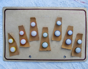 Vintage button card with 14 glass buttons with shank