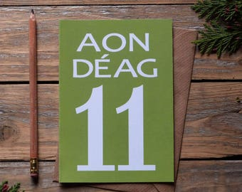 11 - Aon Déag card - Irish language number card, Cártaí as Gaeilge, birthdays, milestones, anniversary,