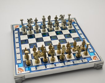 Greek warrior chess set (20X20cm) / Aluminium chess board