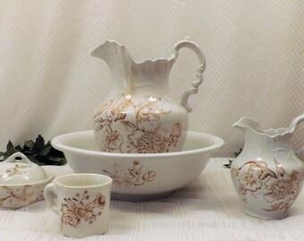Victorian Wash Bowl and Pitcher Set Rinse Mug Soap Dish 5 pcs