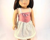 "18 inch doll dress ""The Emme"" Eco-Friendly Strappy Dress with fitted bodice, floral button trim, and self lined full skirt"