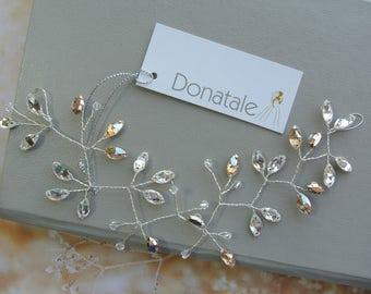 ON SALE Bridal  Hair vine, Crystal  Hair Vine with Swarovski , Bridal Headpiece,  Wedding hair piece, Crystal Headpiece Bridal Hair piece UK