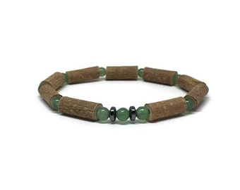 Hazelwood and green aventurine bead bracelet