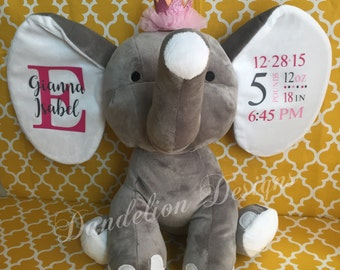 Personalized Animal Birth Stat Elephant Blue Pink or Gray Birth Announcement