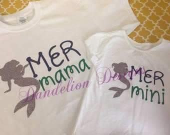 Mermaid Mommy And Me Tees Mer Mama and Mer Mini Mommy and Me Glitter