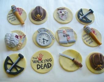 12 THE WALKING DEAD Edible Fondant Cupcake Toppers
