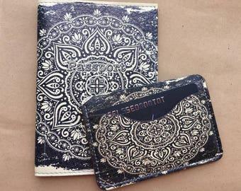 Leather Passport Cover - Mandala Passport holder -Card Holder - Leather Card Wallet - Women Gift Graduation Mini Wallet - Black White Ornate