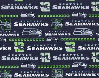 """Seattle Seahawks NFL Glitter 100% Cotton 1/2 yard 58"""" wide"""