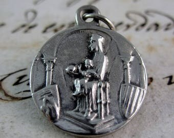 Wonderful Scapular Our Lady of Montserrat and Sacred Heart Religious Medal - Silver Plated - Spain