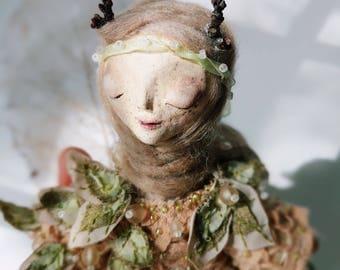 Aviva. Handmade Mixed media Art Doll Decor