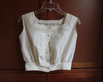 Vintage Cotton Camisole with Eyelet Lace and Tucks