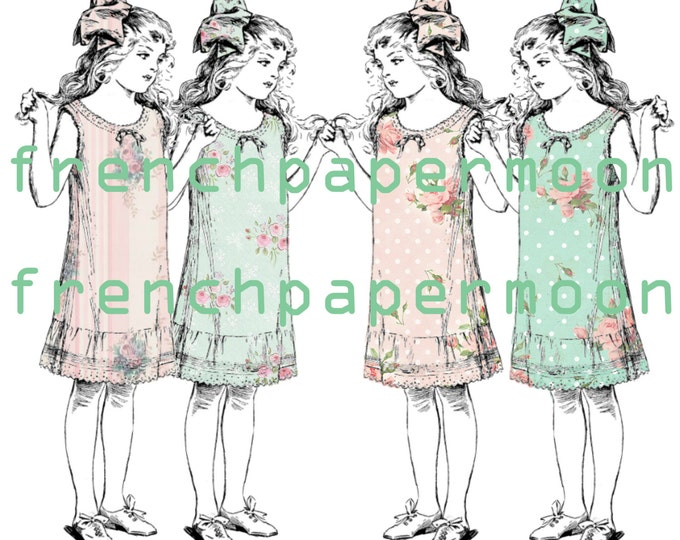 Adorable Victorian Digital Girl Clipart Dresses, Vintage Wallpaper Dress Cutout, Scrapbook Dresses, Wallpaper Slip Dress