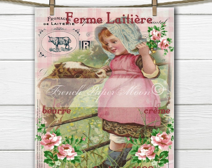 Vintage French Milk Girl, French Farm Digital, Vintage French Farm Girl, Pillow Image Transfer Graphic