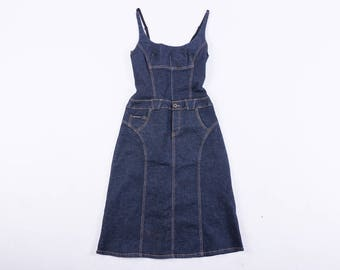 DOLCE & GABBANA Navy Blue Denim Spaghetti Strapped Dress