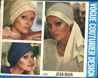 Vintage 1970's Vogue 1148 Jean Muir Snood Hat & Head Scarf Pattern