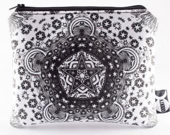 Stardust Pouch - Witchy Black & White Star Makeup Bag / Pencil Case