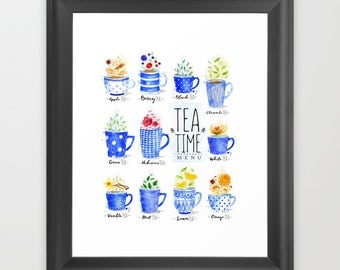 Tea art print, Tea Time Menu, kitchen decor, Cottage kitchen, Instant download, digital download, watercolor print, typography print