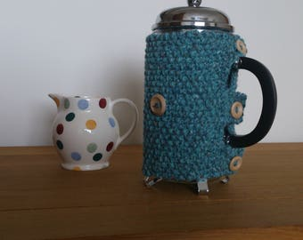Aqua hand knitted cafetiere cosy with wooden button detail - Ready to ship